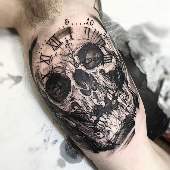 Black And Gray Clock And Skull Tattoos On Bicep: 101+ Top Skull Tattoos And Designs For Men & Women