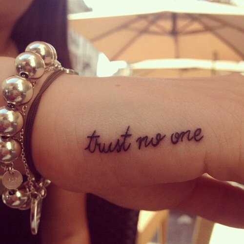 Black Trust No One Tattoo On Right Hand