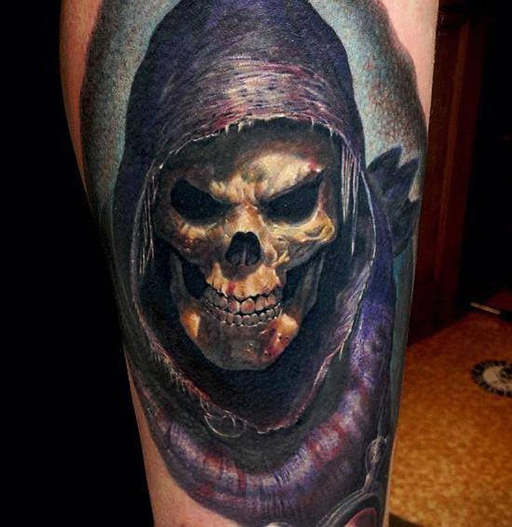 Attraktiv Tattoo Motive Engel Das Beste Von Colored Grim Reaper On Upper Sleeve For