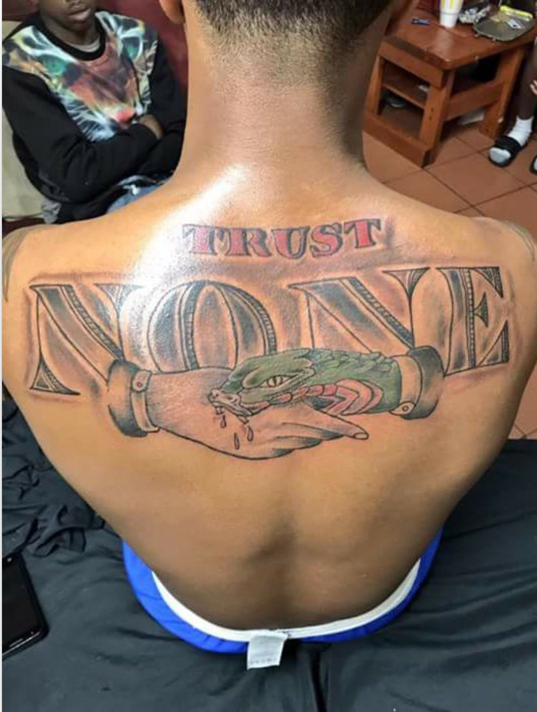 80 trust no one tattoos and designs for Trust no one tattoo