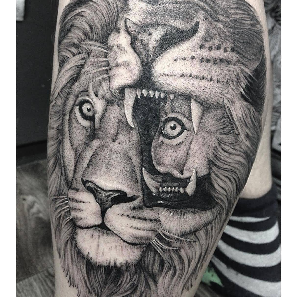 d86ec15048811 Grey lion and lioness tattoo on sleeve