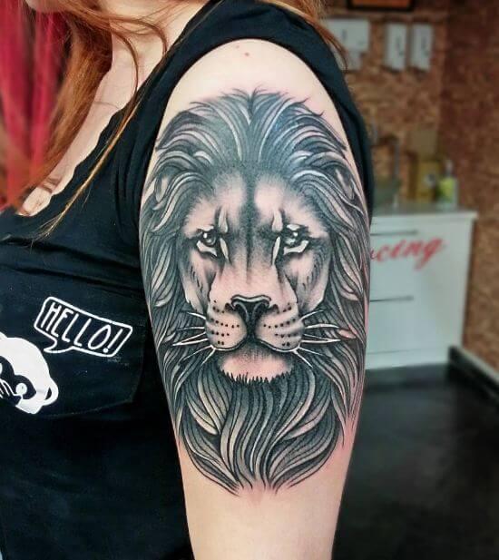 Grey Lion Tattoo On Left Upper Arm For Women