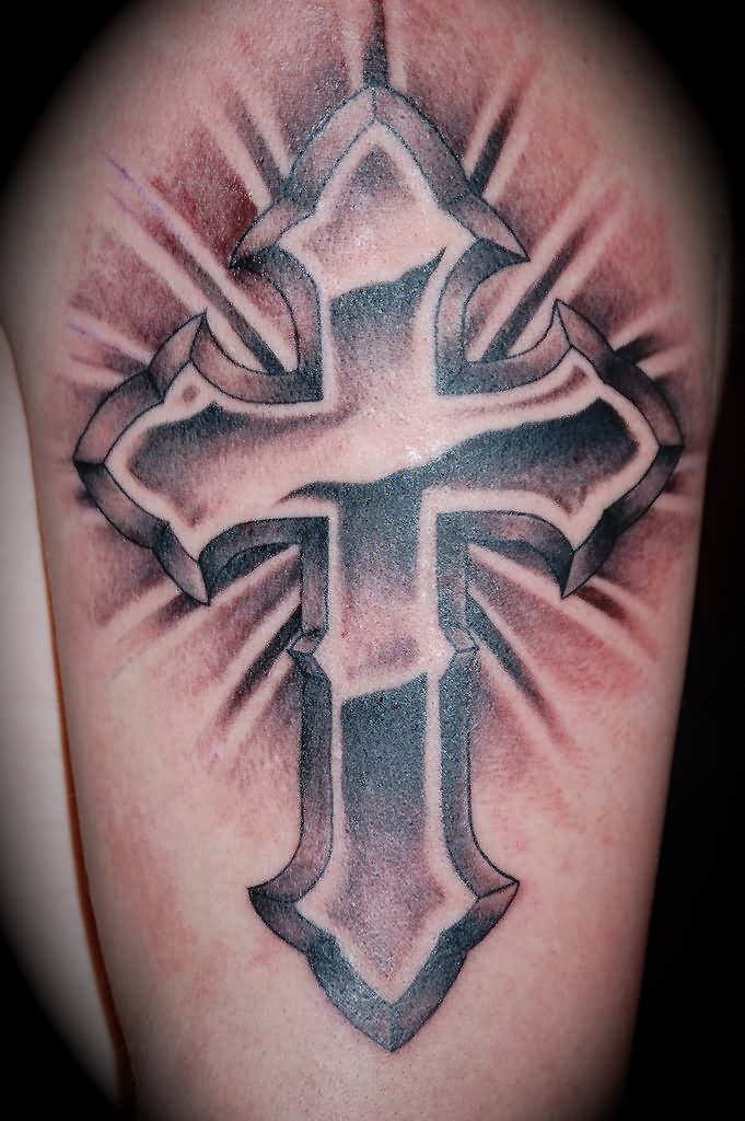 Grey Shaded 3d Cross Tattoo For Men Half Sleeve