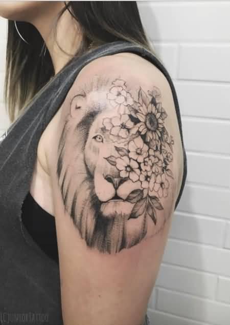 grey shaded feminine lion flower tattoo on left upper sleeve for women. Black Bedroom Furniture Sets. Home Design Ideas
