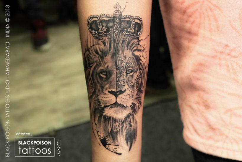 Grey Shaded Lion King Tattoo Design On Forearm