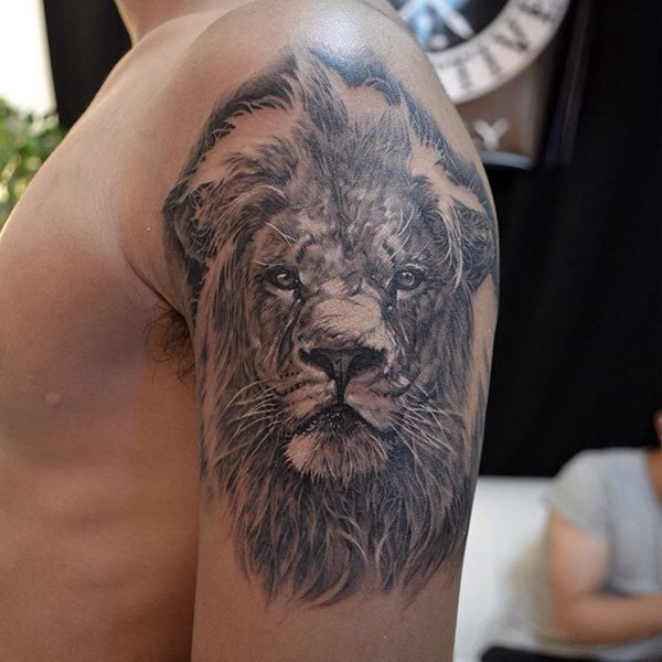 Grey Shaded Lion Tattoo On Upper Arm For Men