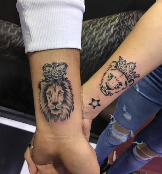 King And Queen Lion And Lioness Couple Tattoo On Inner Wrist