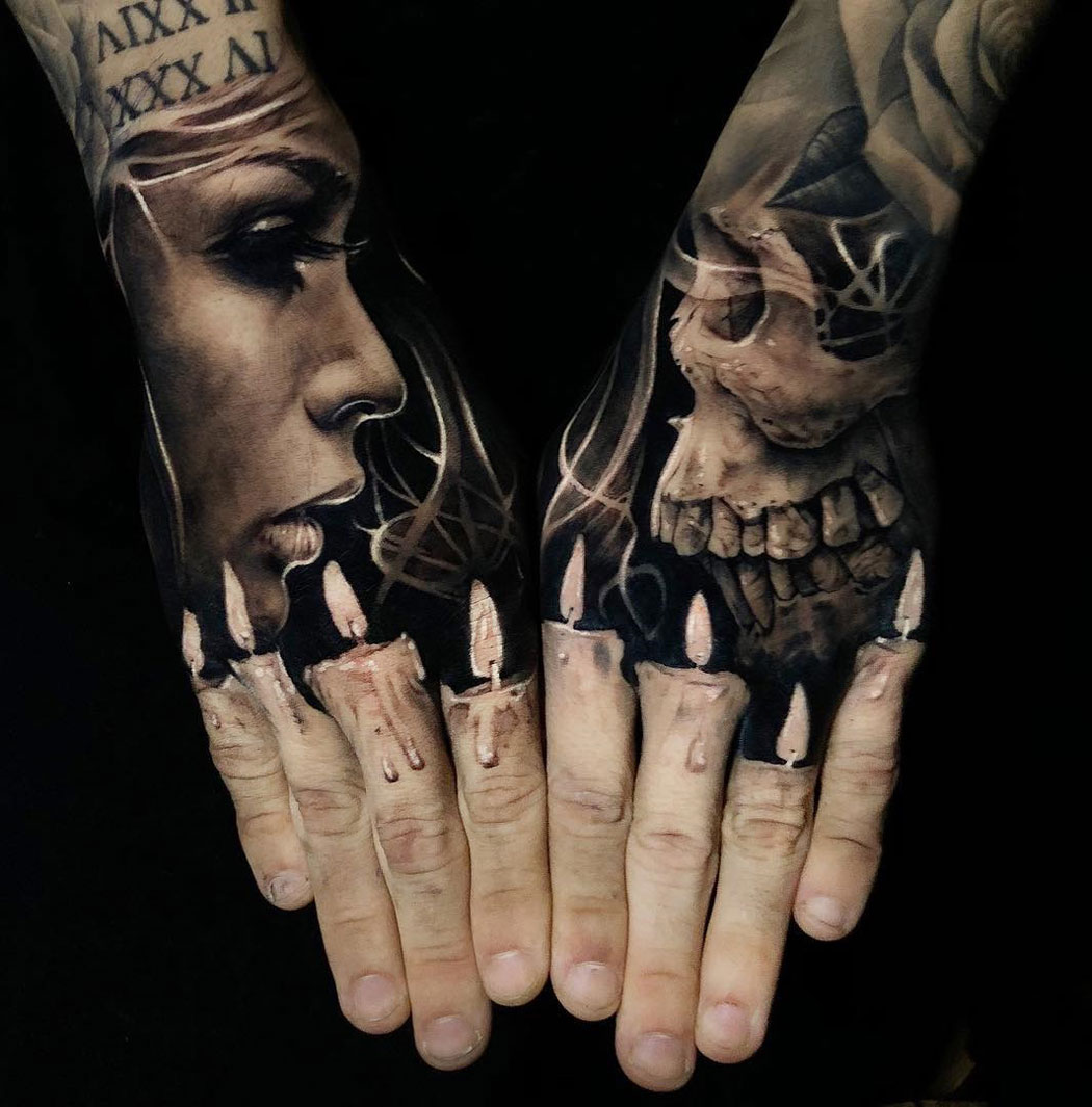 81c44132f Black and grey shaded candles and skull tattoo on full both hands