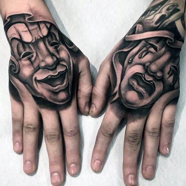 ca47f91fc6f1b Black and grey shaded faces mask tattoo on upper hands