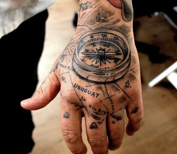 Black Map And Compass Tattoo On Upper Right Hand