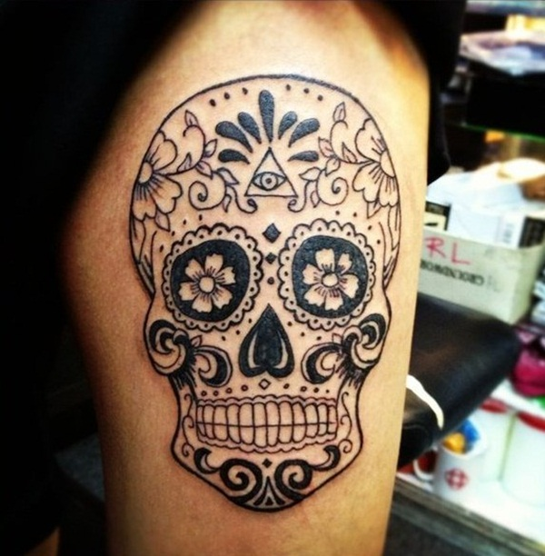 Black Sugar Skull Tattoo On Body