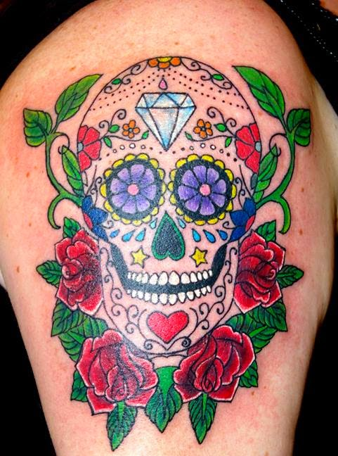Colorful Sugar Skull With Roses Tattoo On Upper Arm For Women