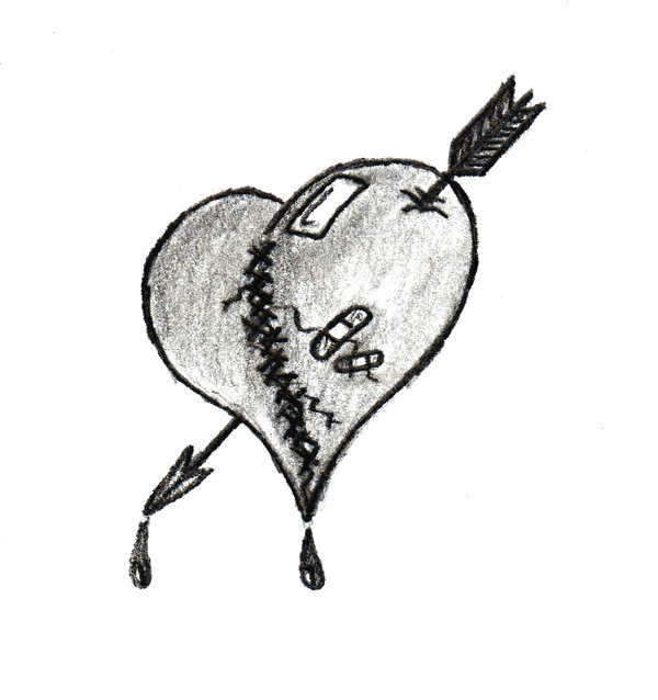 Black and grey shaded sewed broken heart with bandage and arrow tattoo design by Eckert