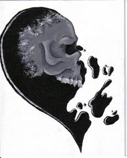 Black and grey skull half broken heart tattoo design