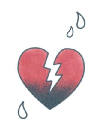 Black and red broken heart tattoo design