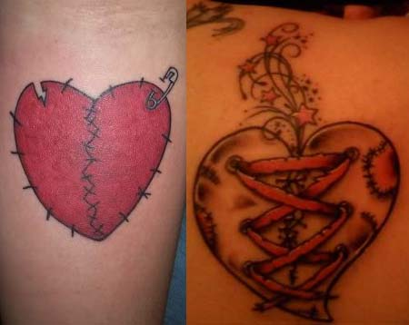 Black and red sewed broken heart tattoo on arm