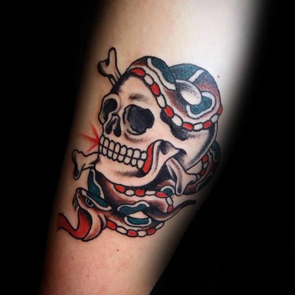 0015fdee2 40+ Traditional Skull Tattoos – Old School Skull Tattoo Ideas For Men