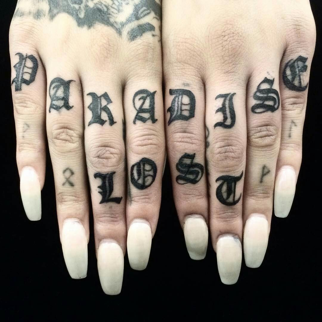 2fc3de886 Black paradise lost text knuckle tattoo for women