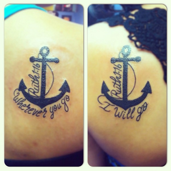 Black quote and anchor siblings tattoos on upper back and arm