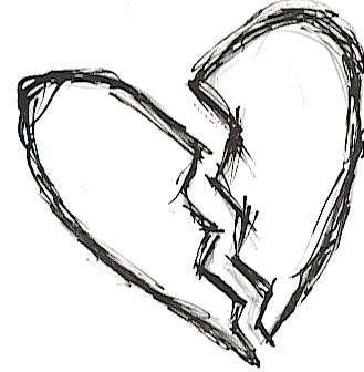 Black Sketched Outlined Broken Heart Tattoo Design