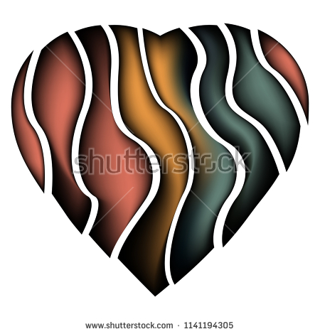 Colored abstract broken heart tattoo design