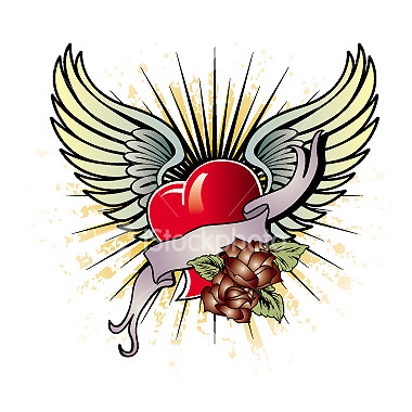 Colored broken heart with angel wings tattoo design
