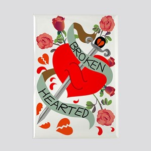 Colored broken heart with sword tattoo design