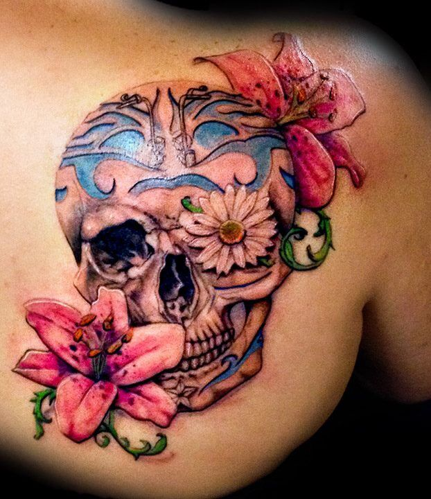 35 Flower Skull Tattoos Feminine Skull Tattoos For Girls