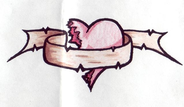 Colored half broken heart tattoo design