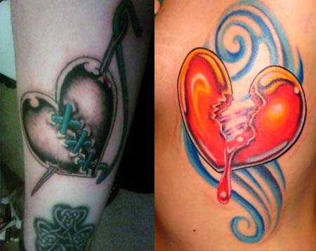 Colored sewed and bloody broken heart tattoo on arm