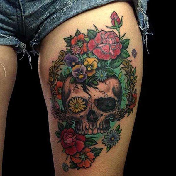 Colorful Flower Skull Tattoo On Left Upper Thigh