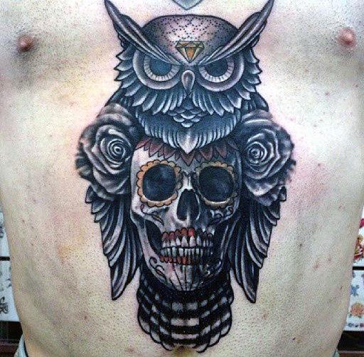Chest Tattoo Owl Skull: 50+ Best Skull & Roses Tattoos For Women And Men