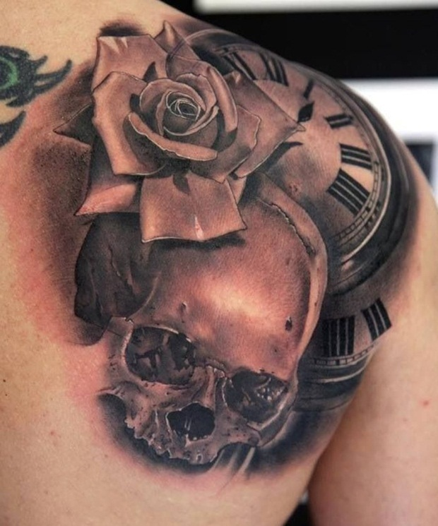 Clock And Roses Tattoo: 50+ Best Skull & Roses Tattoos For Women And Men