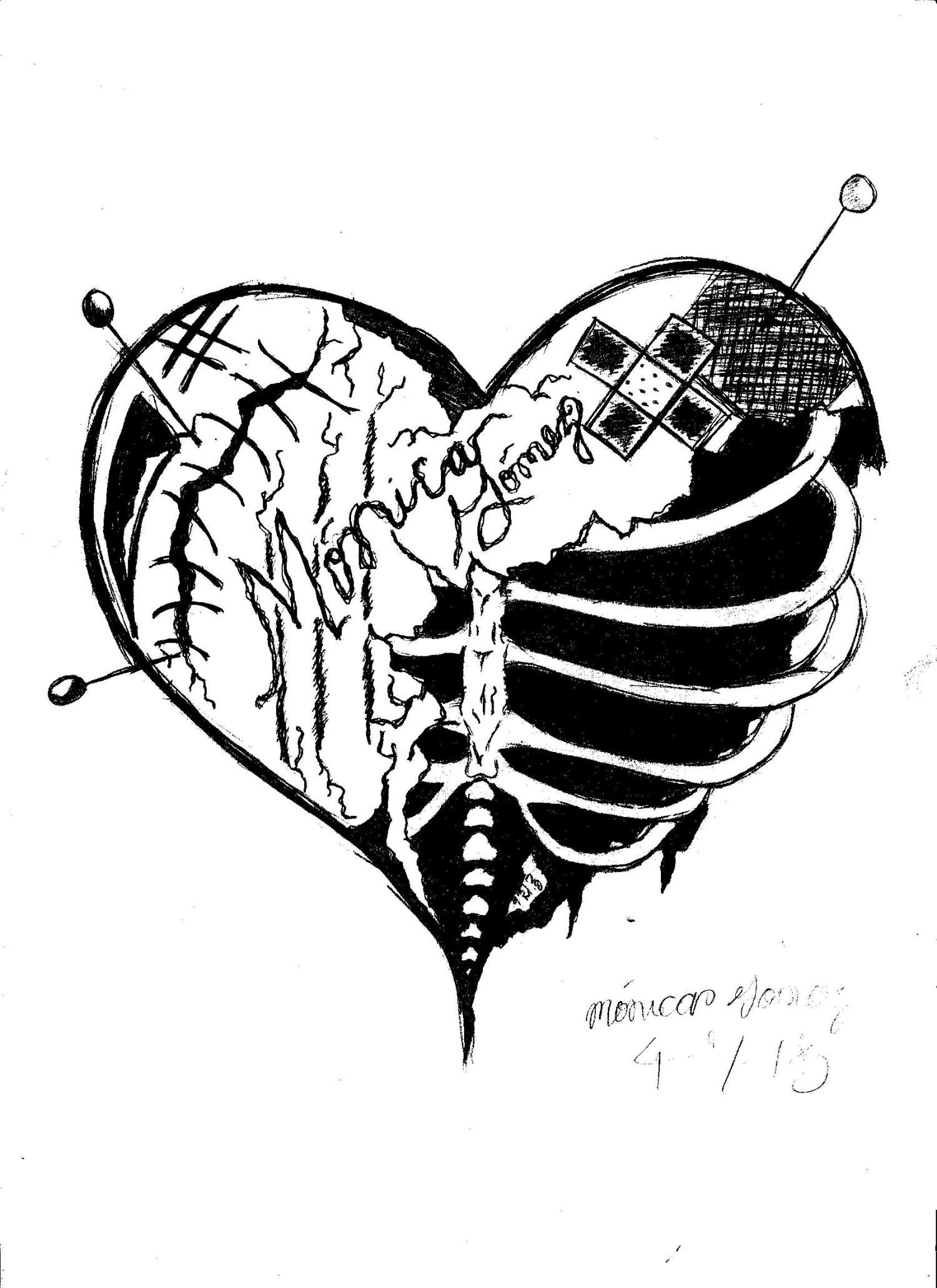 Monochrome rib cage broken heart tattoo design