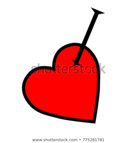 Red and black broken heart with pin tattoo design
