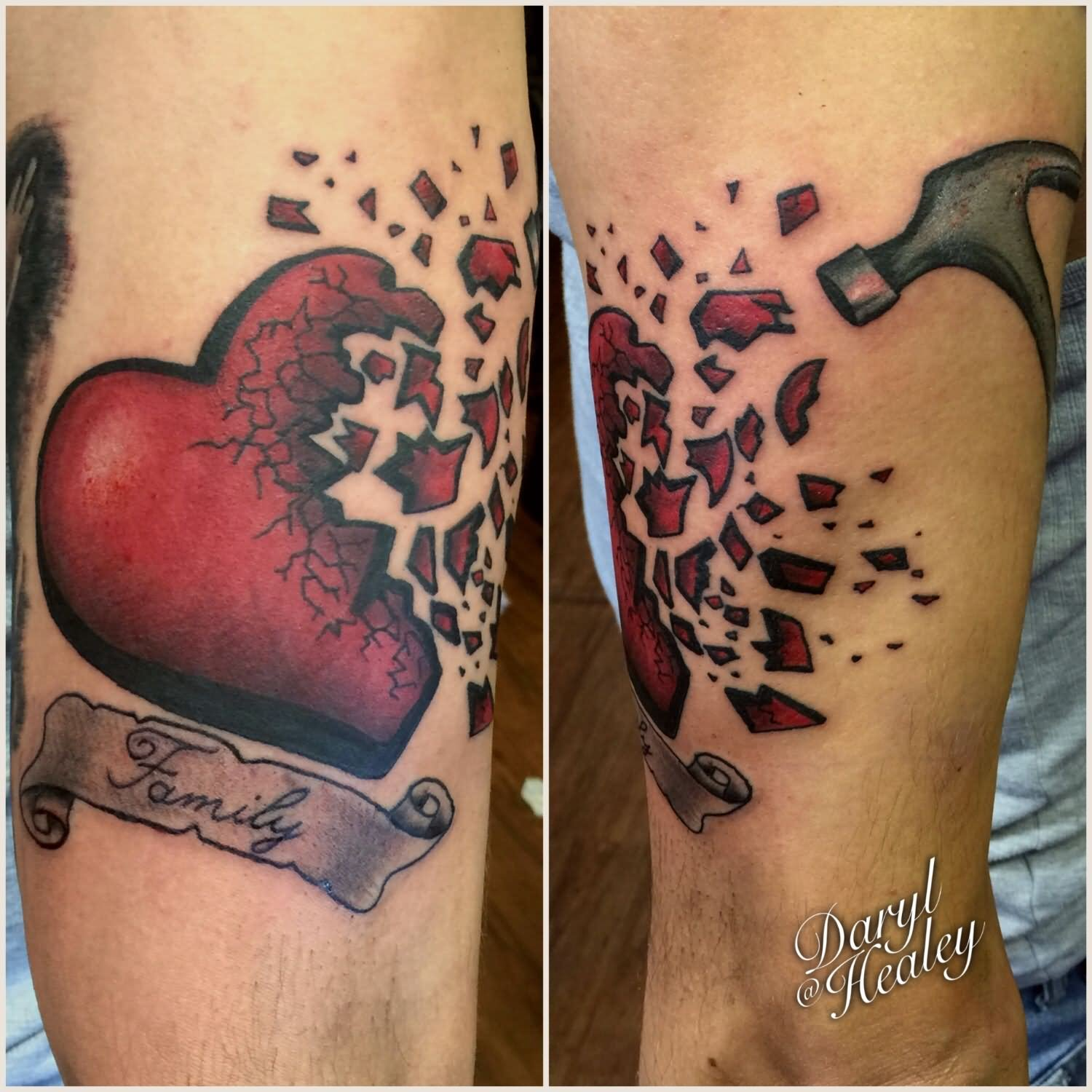 Red and grey shaded shattered pieces broken heart tattoo on arm