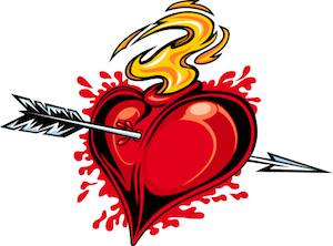 Red and yellow broken heart on fire with arrow tattoo design