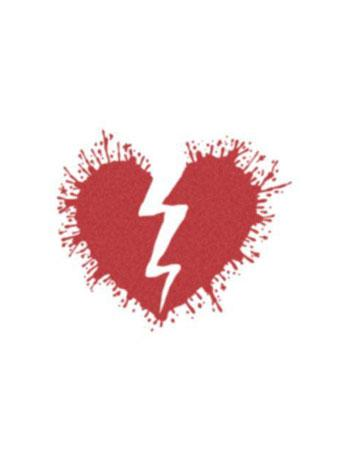 Red cracking from mid broken heart tattoo design