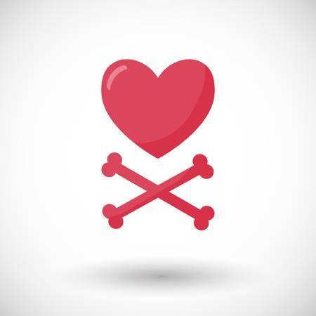 Red heart with cross-boned broken heart tattoo design