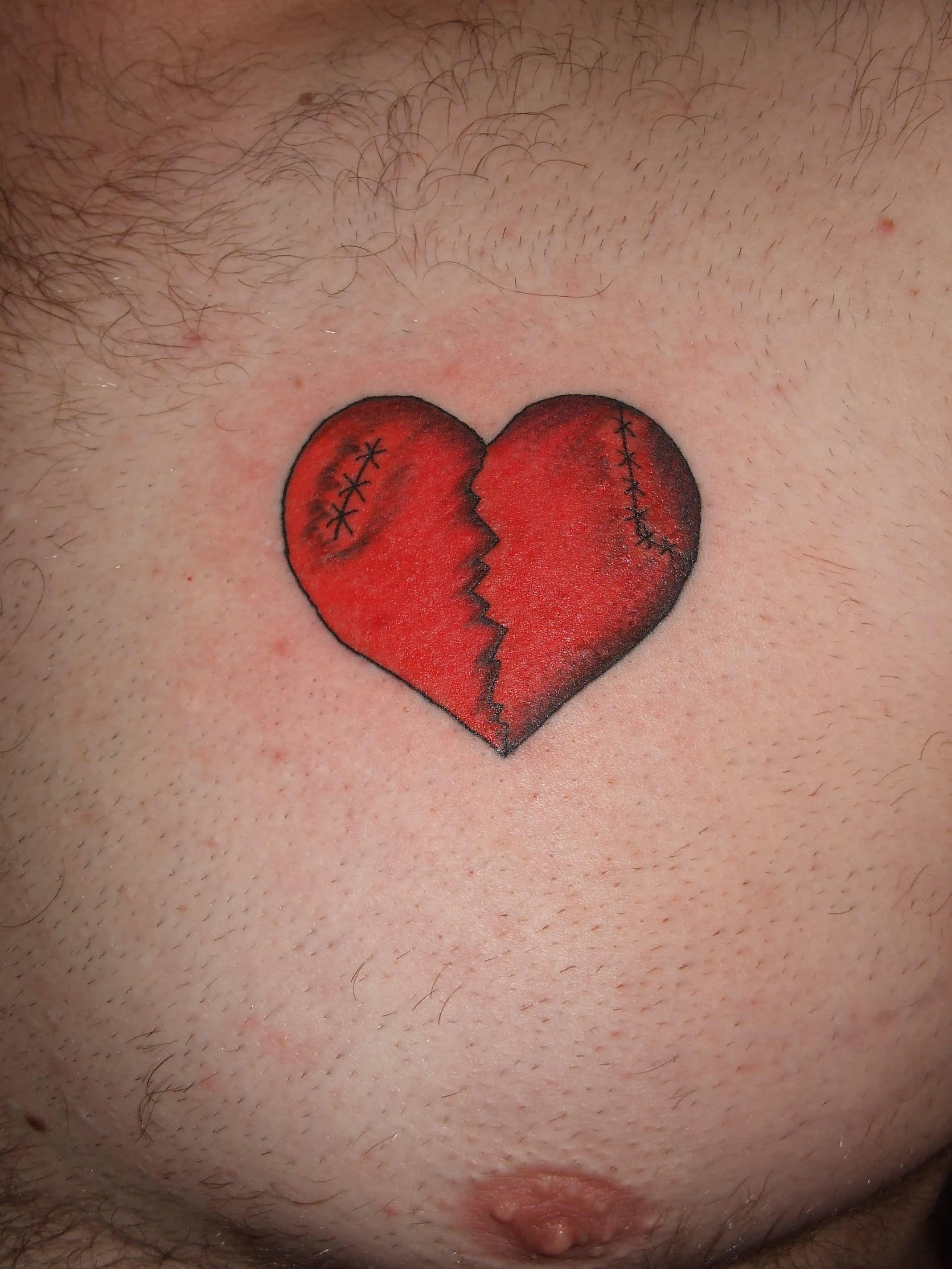 Red sewed broken heart tattoo on left chest for men