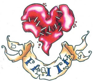 Red sewed broken heart tattoo design