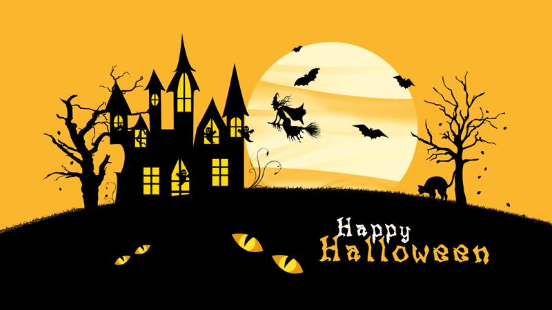 happy halloween scary house