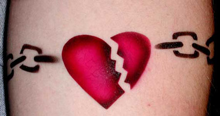 Red and black broken chained from sides heart tattoo on body