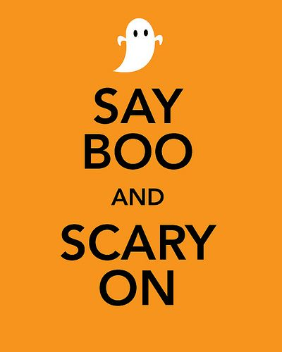 say boo and scary on happy halloween
