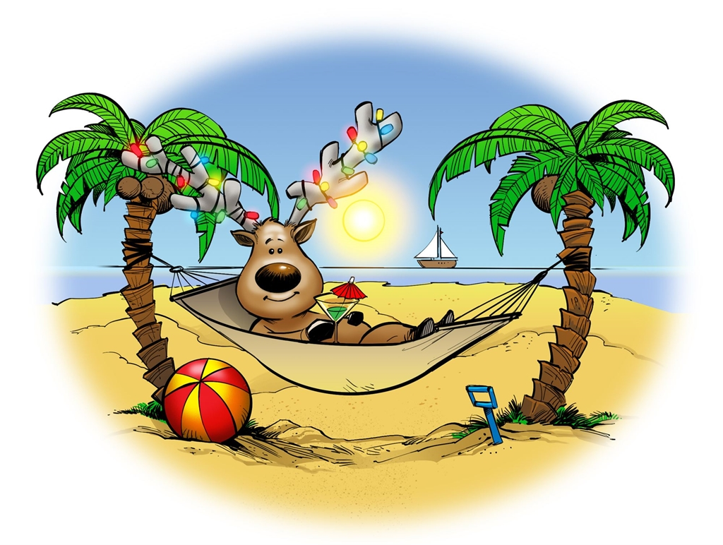Christmas In July Clipart Free.Christmas In July Reindeer Enjoying Summer